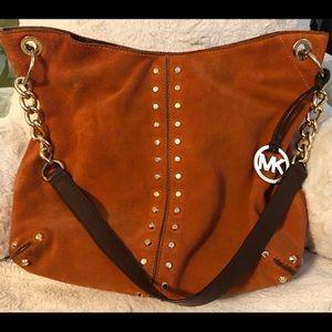 Burnt Orange Leather Michael Kors Shoulder Purse.